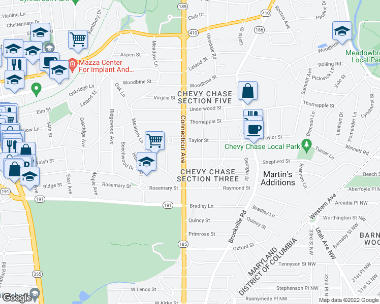 map of restaurants, bars, coffee shops, grocery stores, and more near 7006 Delaware Street in Chevy Chase