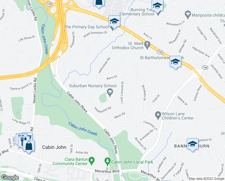 map of restaurants, bars, coffee shops, grocery stores, and more near 7209 Hidden Creek Rd in Bethesda