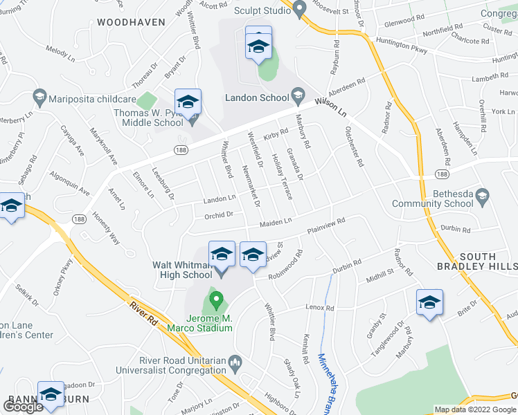 map of restaurants, bars, coffee shops, grocery stores, and more near 7512 Newmarket Drive in Bethesda
