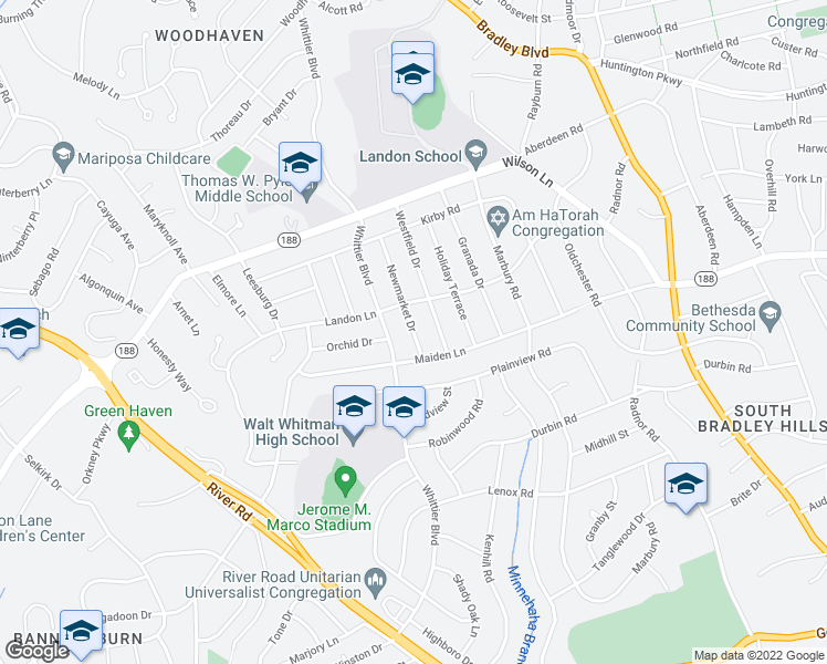 map of restaurants, bars, coffee shops, grocery stores, and more near 7512 Newmarket Dr in Bethesda
