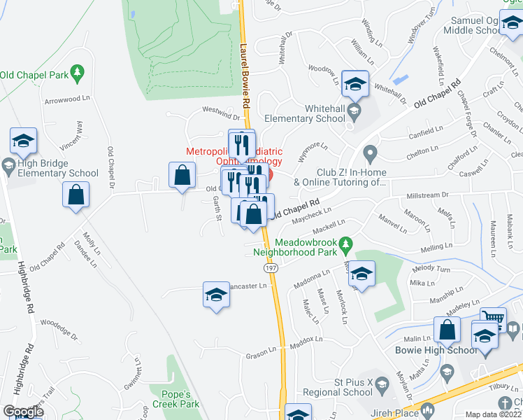 map of restaurants, bars, coffee shops, grocery stores, and more near 6948 Laurel Bowie Road in Bowie