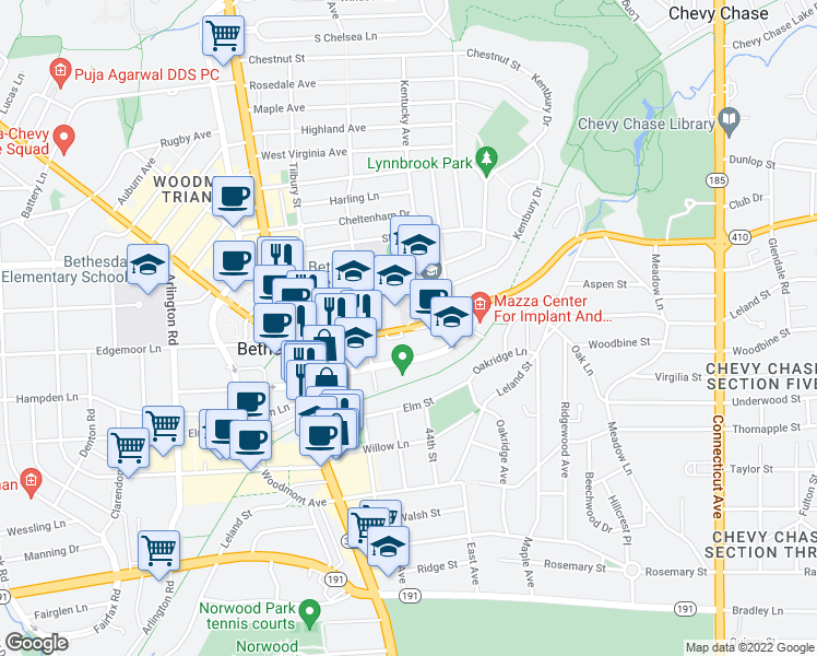 map of restaurants, bars, coffee shops, grocery stores, and more near 4400-4498 Highway 410 in Bethesda