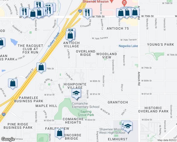 map of restaurants, bars, coffee shops, grocery stores, and more near 7901 Grant Street in Overland Park