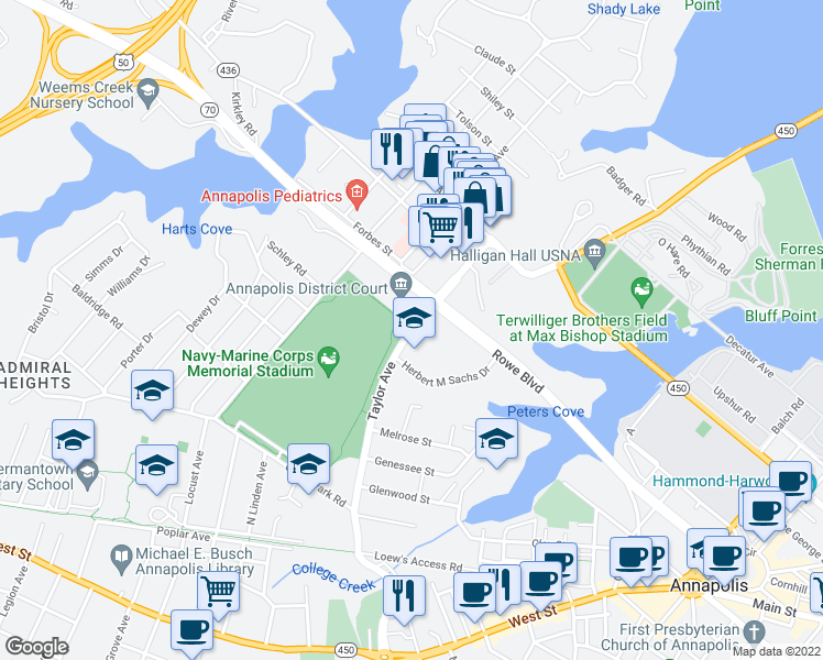 map of restaurants, bars, coffee shops, grocery stores, and more near 251 Rowe Blvd in Annapolis