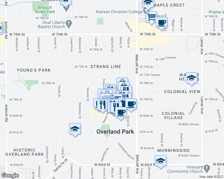 map of restaurants, bars, coffee shops, grocery stores, and more near 7843 Riley St in Overland Park