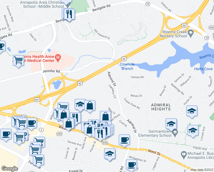 map of restaurants, bars, coffee shops, grocery stores, and more near 401-489 Admiral Drive in Annapolis