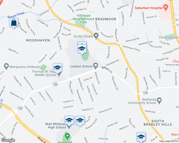 map of restaurants, bars, coffee shops, grocery stores, and more near Wilson Lane in Bethesda