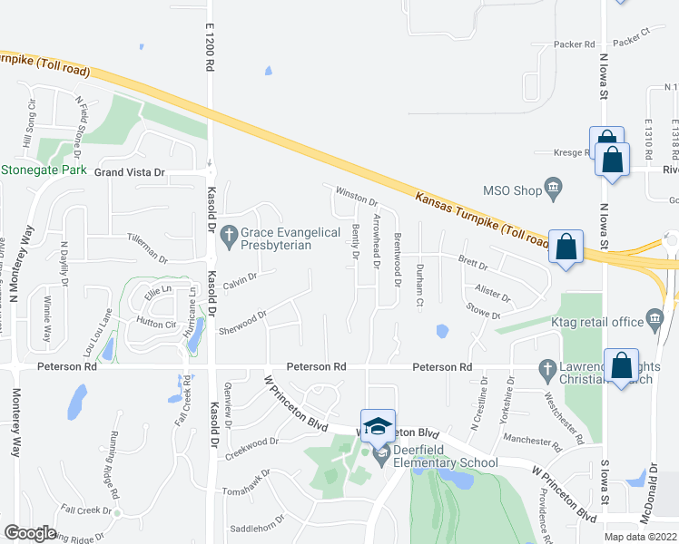 map of restaurants, bars, coffee shops, grocery stores, and more near 3009 Bently Court in Lawrence