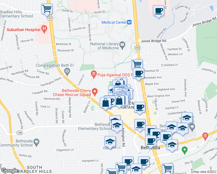 map of restaurants, bars, coffee shops, grocery stores, and more near 4970 Battery Lane in Bethesda