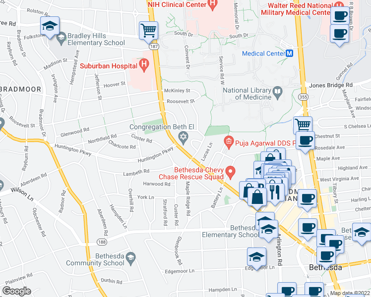 map of restaurants, bars, coffee shops, grocery stores, and more near 8212 Old Georgetown Road in Bethesda