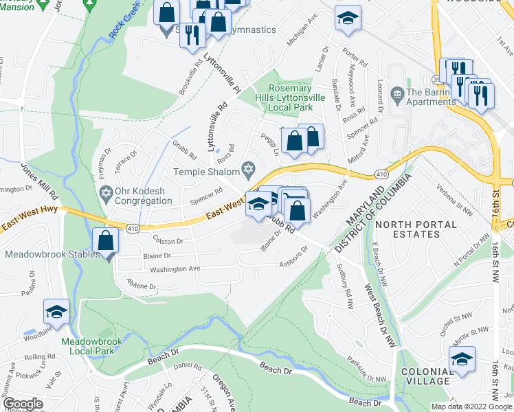 map of restaurants, bars, coffee shops, grocery stores, and more near 2401-2499 East-West Highway in Chevy Chase