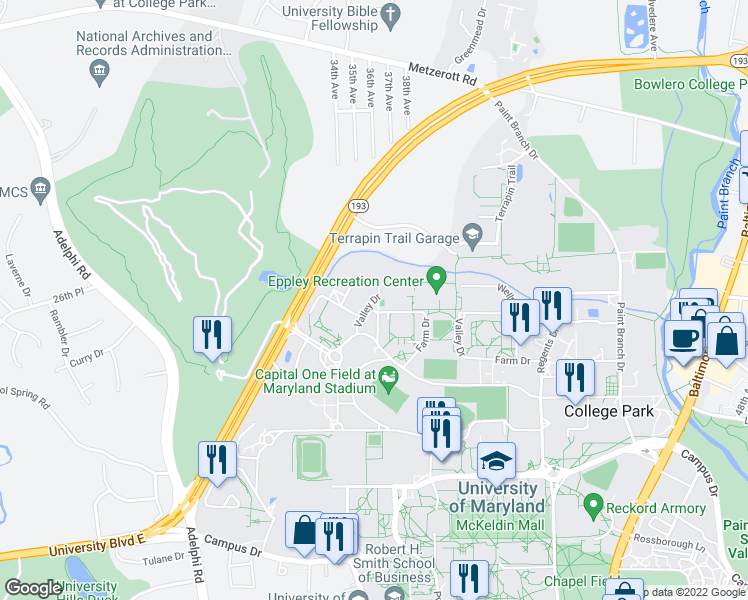 map of restaurants, bars, coffee shops, grocery stores, and more near S Farm Dr in College Park