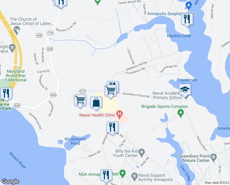 map of restaurants, bars, coffee shops, grocery stores, and more near 64 Greenbury Point Road in Annapolis