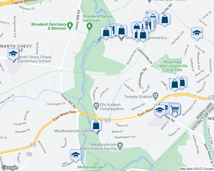 map of restaurants, bars, coffee shops, grocery stores, and more near 2823 Terrace Drive in Chevy Chase