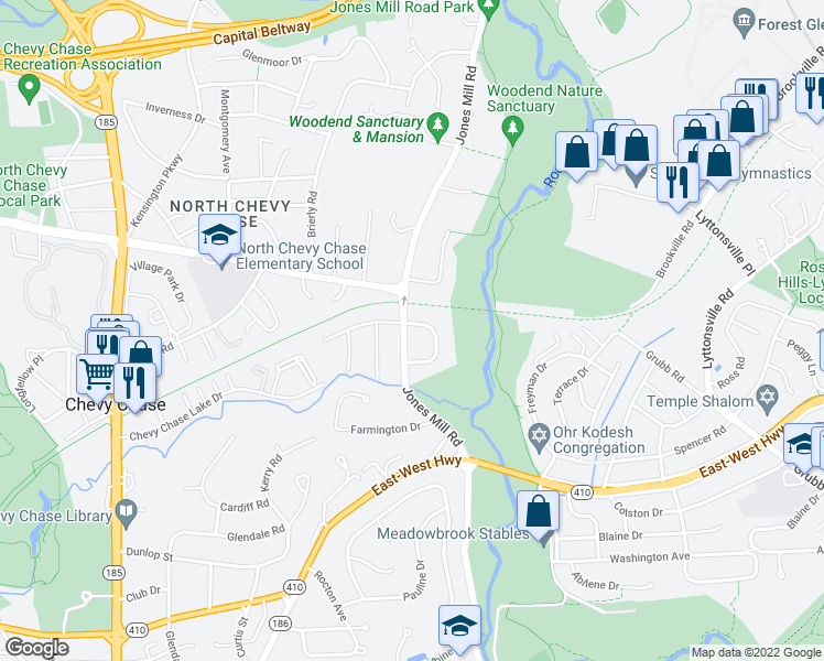 map of restaurants, bars, coffee shops, grocery stores, and more near in Chevy Chase