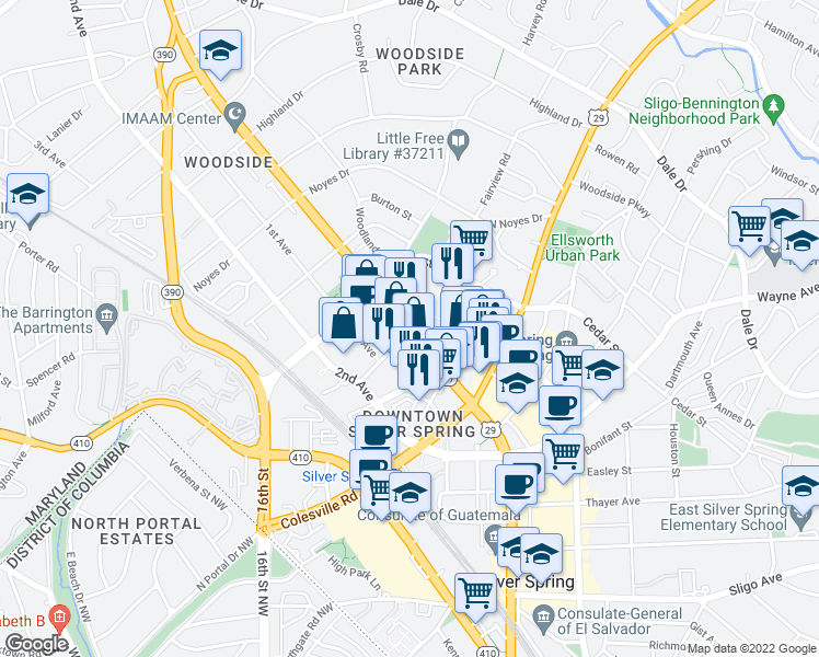map of restaurants, bars, coffee shops, grocery stores, and more near 8746 Georgia Avenue in Silver Spring
