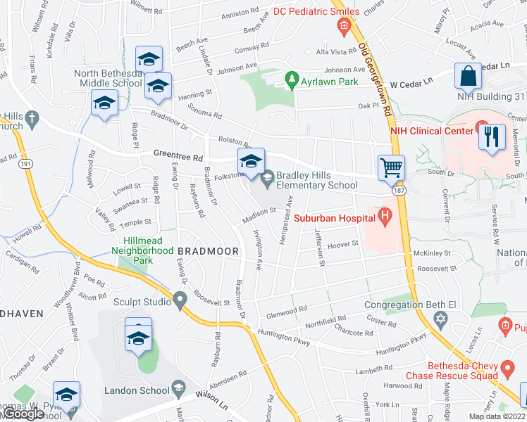 map of restaurants, bars, coffee shops, grocery stores, and more near 5900-5902 Madison St in Bethesda
