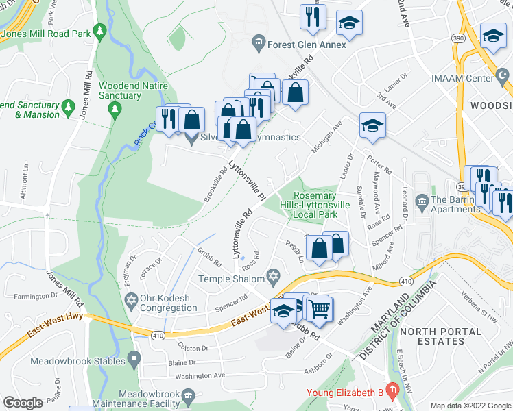 map of restaurants, bars, coffee shops, grocery stores, and more near 2445 Lyttonsville Road in Silver Spring