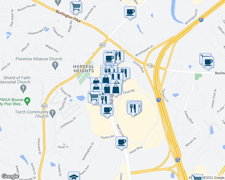 map of restaurants, bars, coffee shops, grocery stores, and more near 7665 Mall Rd in Florence