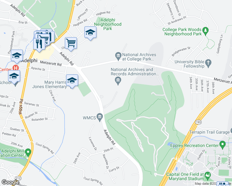 map of restaurants, bars, coffee shops, grocery stores, and more near 8601 Adelphi Road in College Park