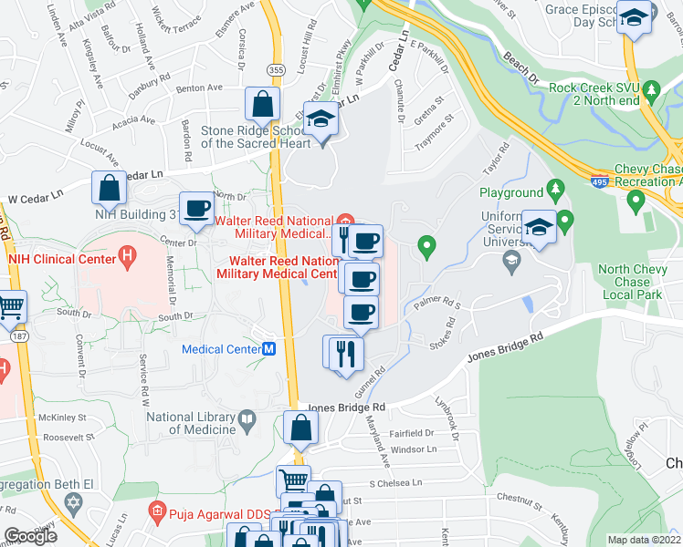 map of restaurants, bars, coffee shops, grocery stores, and more near Wood Road in Bethesda