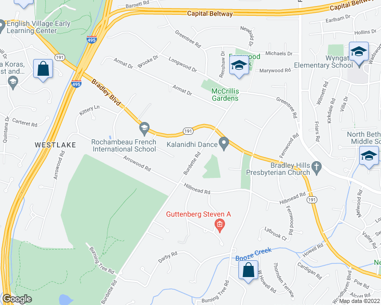 map of restaurants, bars, coffee shops, grocery stores, and more near 8920 Burdette Rd in Bethesda