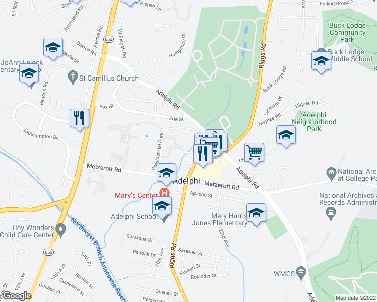 map of restaurants, bars, coffee shops, grocery stores, and more near 9004 Riggs Road in Hyattsville