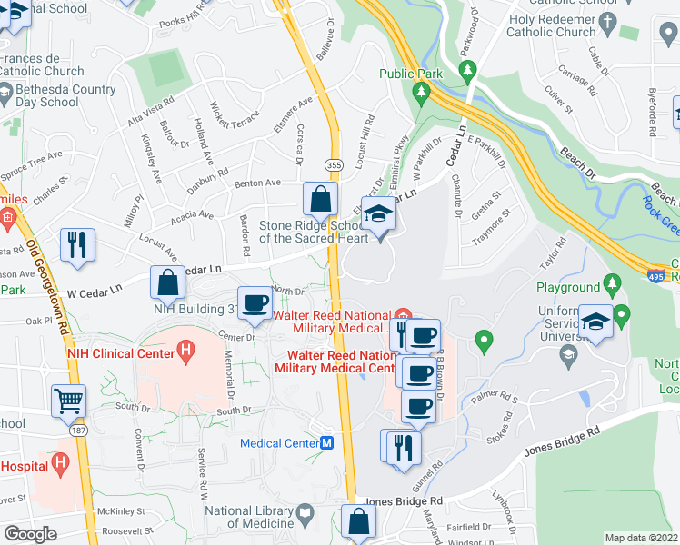 map of restaurants, bars, coffee shops, grocery stores, and more near 9177-9199 Rockville Pike in Bethesda