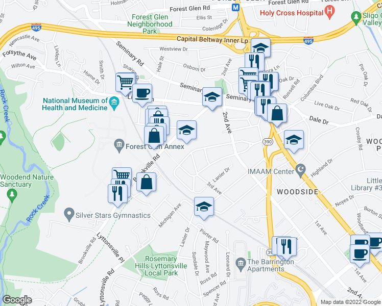 map of restaurants, bars, coffee shops, grocery stores, and more near 2030 Luzerne Avenue in Silver Spring