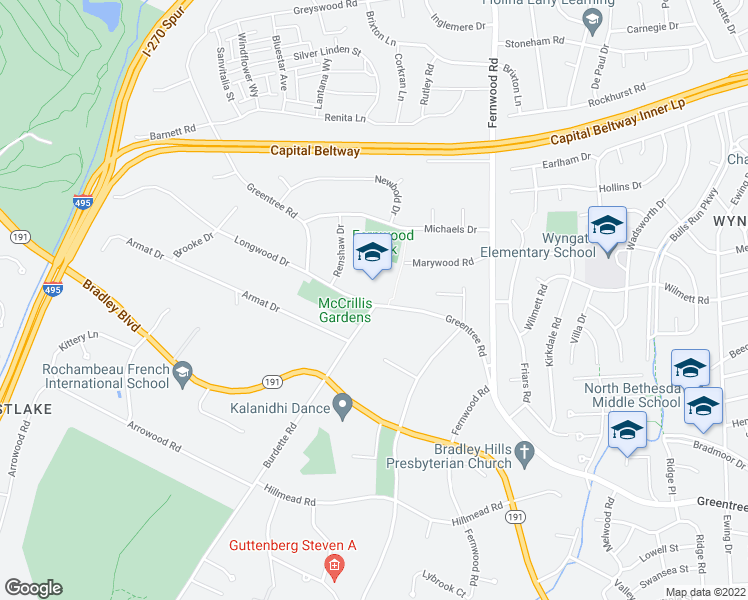 map of restaurants, bars, coffee shops, grocery stores, and more near 9120 Burdette Road in Bethesda
