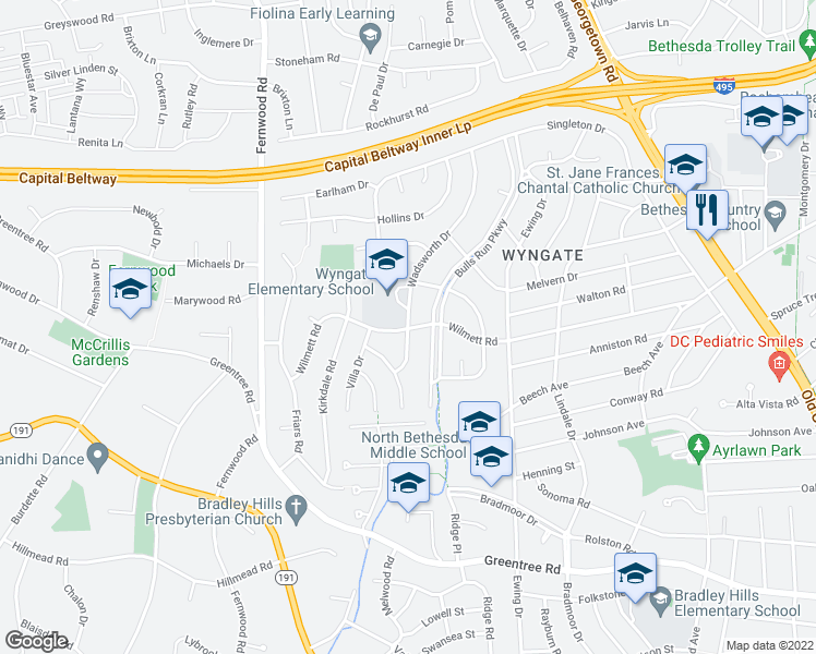 map of restaurants, bars, coffee shops, grocery stores, and more near 9305 Wadsworth Dr in Bethesda