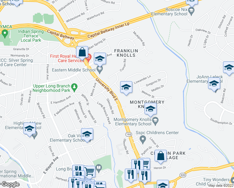 map of restaurants, bars, coffee shops, grocery stores, and more near 400 Greer Ave in Silver Spring