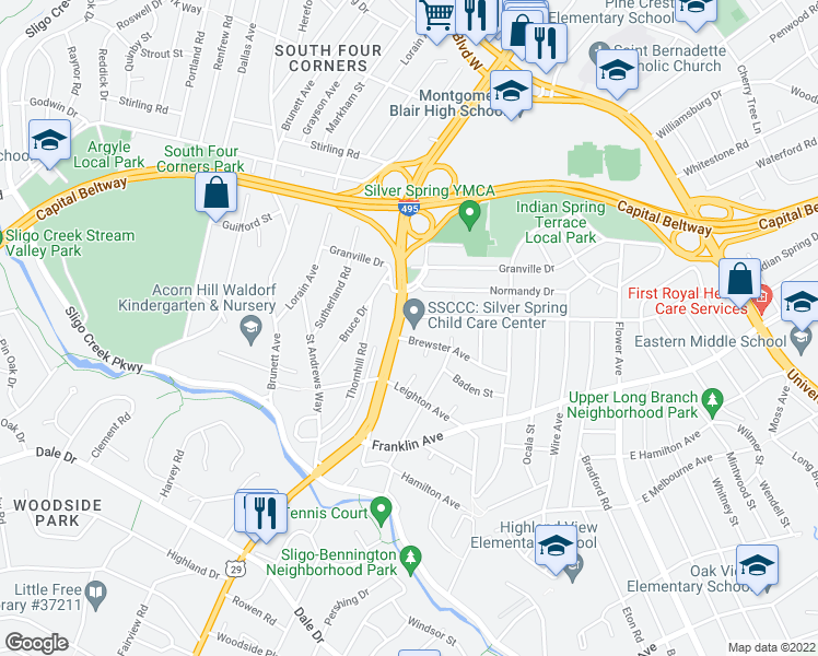 map of restaurants, bars, coffee shops, grocery stores, and more near 407 Brewster Ave in Silver Spring
