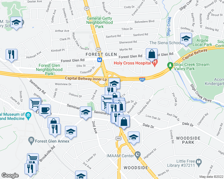 map of restaurants, bars, coffee shops, grocery stores, and more near 9550-9598 Georgia Ave in Silver Spring