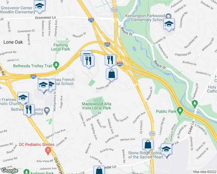 map of restaurants, bars, coffee shops, grocery stores, and more near 3 Pooks Hill Road in Bethesda