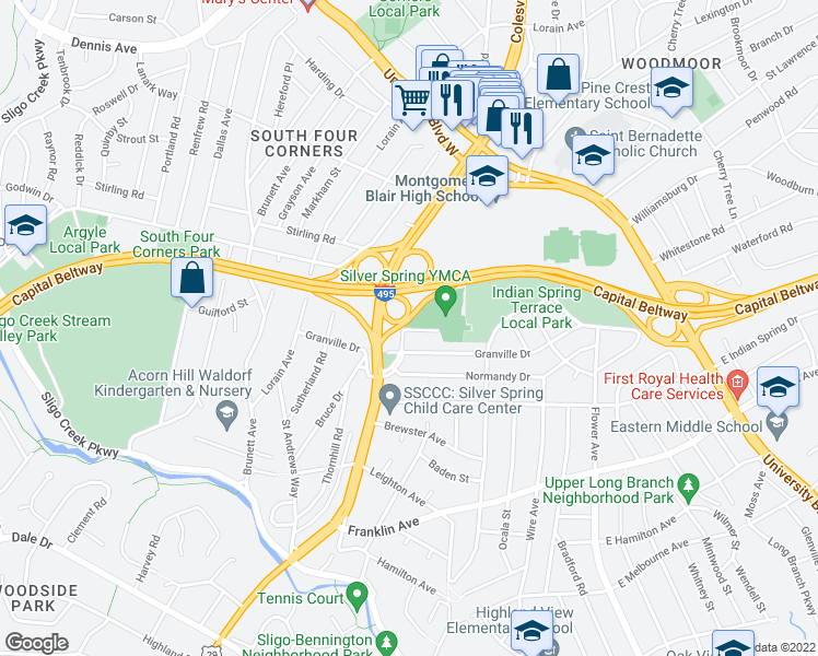 map of restaurants, bars, coffee shops, grocery stores, and more near Colesville Rd in Silver Spring
