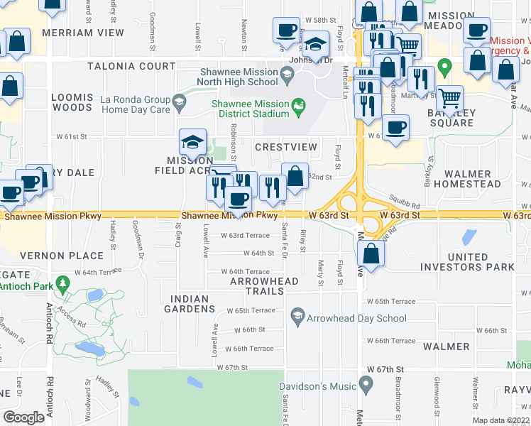 map of restaurants, bars, coffee shops, grocery stores, and more near 7600 Shawnee Mission Pkwy in Overland Park