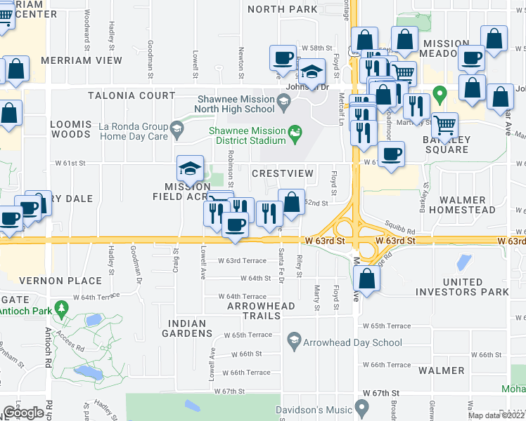 map of restaurants, bars, coffee shops, grocery stores, and more near 7600 Shawnee Mission Parkway in Mission