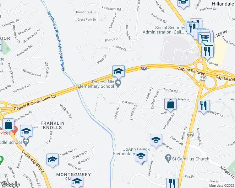 map of restaurants, bars, coffee shops, grocery stores, and more near 1121 Corliss Street in Silver Spring