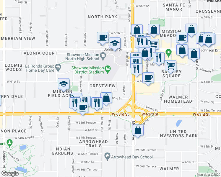 map of restaurants, bars, coffee shops, grocery stores, and more near 6100-6118 Marty Lane in Overland Park