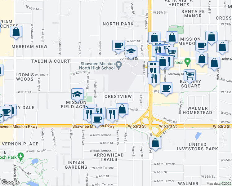 map of restaurants, bars, coffee shops, grocery stores, and more near 6102 Foster in Mission