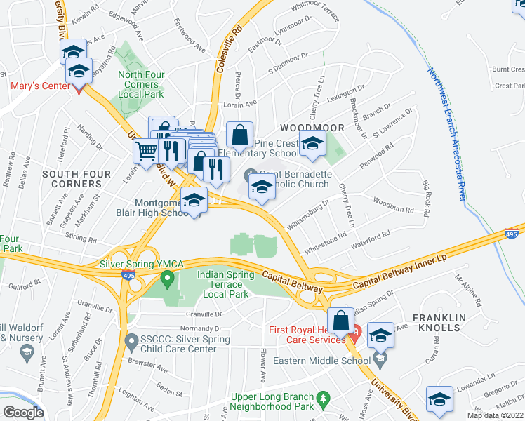 map of restaurants, bars, coffee shops, grocery stores, and more near 80 University Boulevard East in Silver Spring