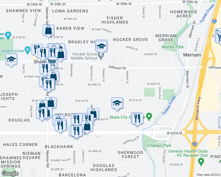 map of restaurants, bars, coffee shops, grocery stores, and more near 6007 Stearns Street in Shawnee