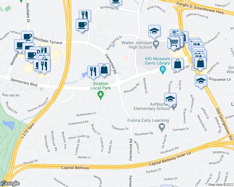 map of restaurants, bars, coffee shops, grocery stores, and more near 6522-6598 Winnepeg Road in Bethesda