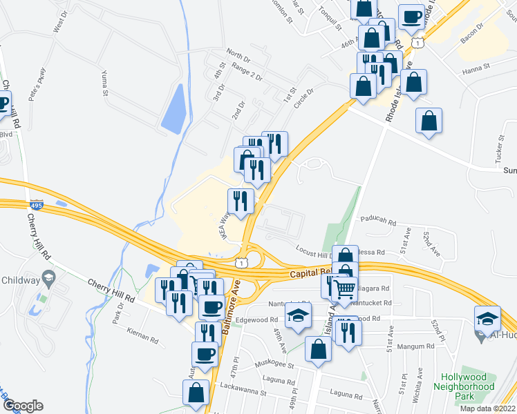 map of restaurants, bars, coffee shops, grocery stores, and more near 10012-10050 Baltimore Avenue in College Park