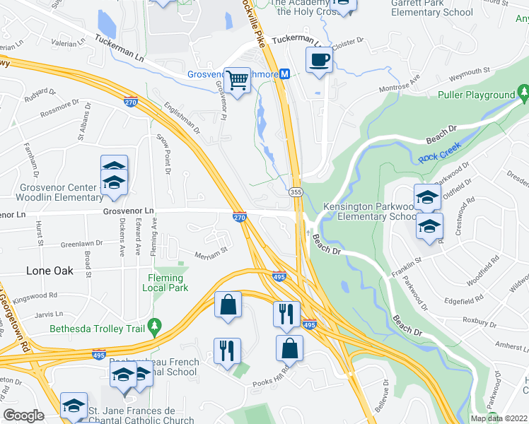 map of restaurants, bars, coffee shops, grocery stores, and more near Grosvenor Ln & Grosvenor Pl in North Bethesda