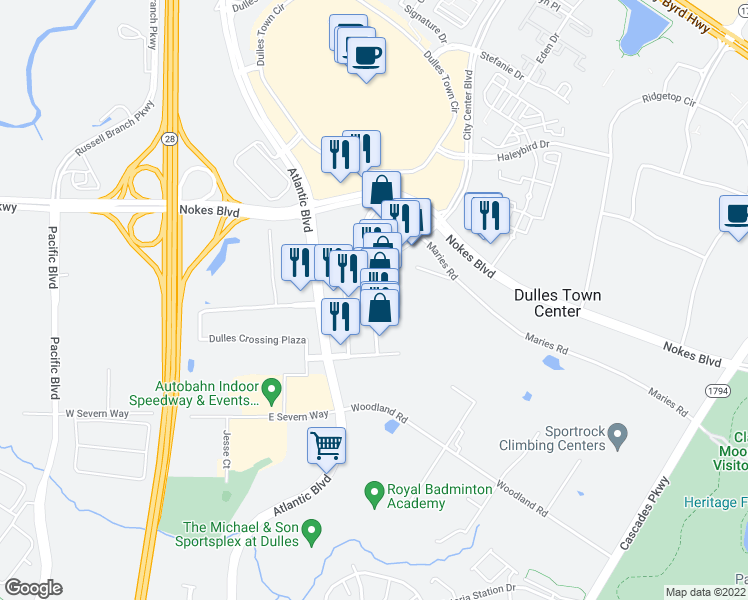 map of restaurants, bars, coffee shops, grocery stores, and more near 45575 Dulles Eastern Plaza in Sterling