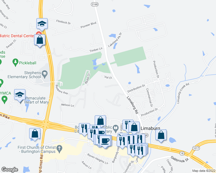 map of restaurants, bars, coffee shops, grocery stores, and more near Hayfield Drive in Burlington
