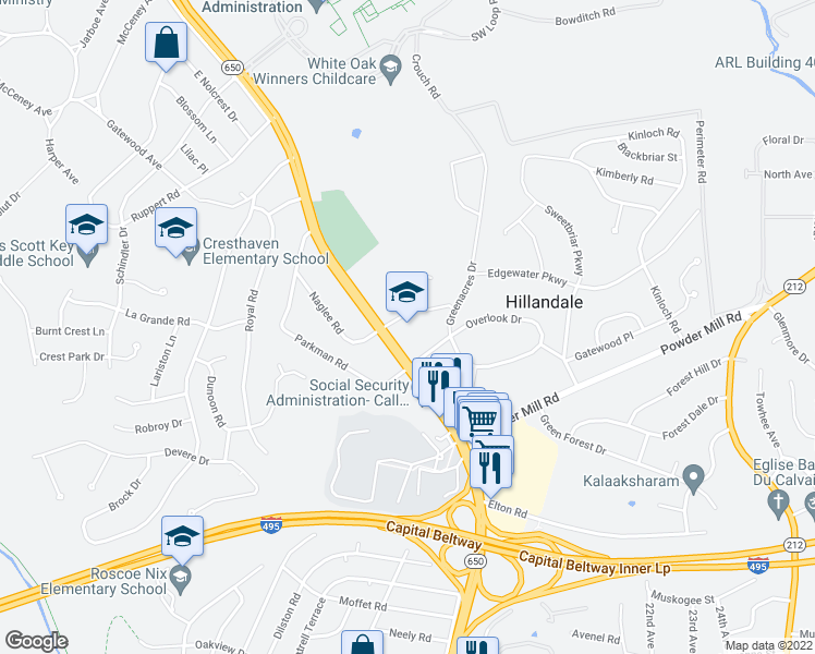 map of restaurants, bars, coffee shops, grocery stores, and more near 10307 New Hampshire Ave in Silver Spring