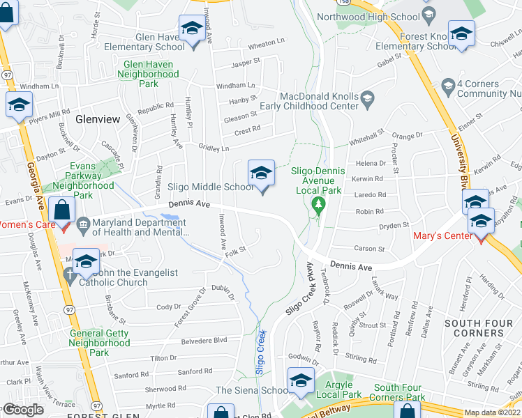 map of restaurants, bars, coffee shops, grocery stores, and more near 1312 Dennis Avenue in Silver Spring